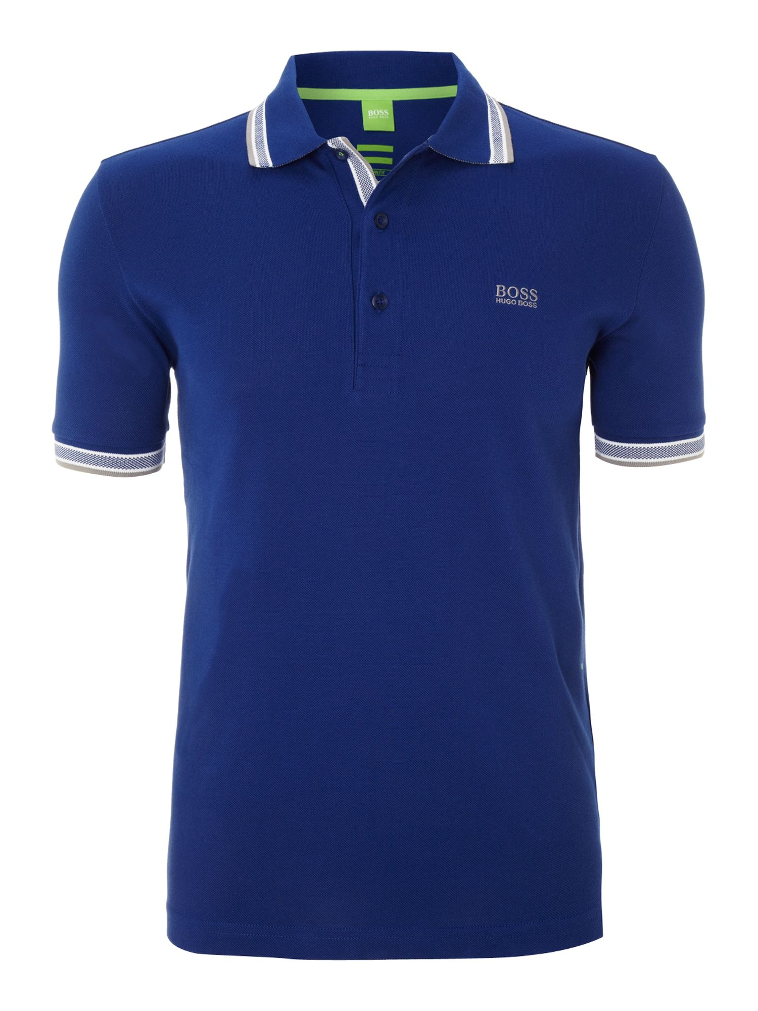 hugo boss classic logo tipped detail polo shirt in blue. Black Bedroom Furniture Sets. Home Design Ideas