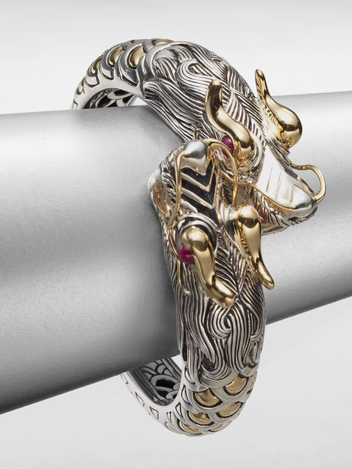lyst john hardy sterling silver 18k gold dragon cuff. Black Bedroom Furniture Sets. Home Design Ideas