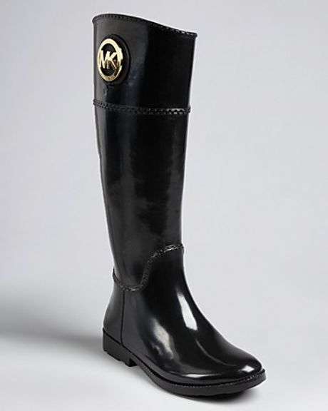 Michael Kors Michael Rain Boots Fulton Tall Logo in Black