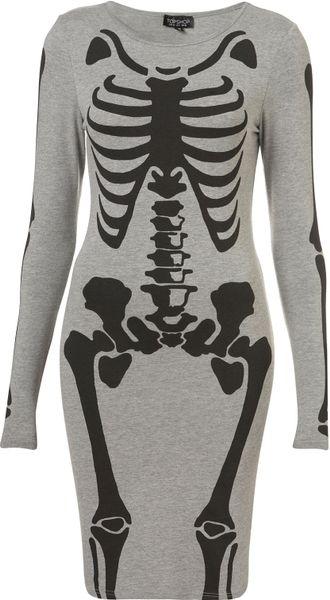 Skeleton Bodycon Dress in Gray