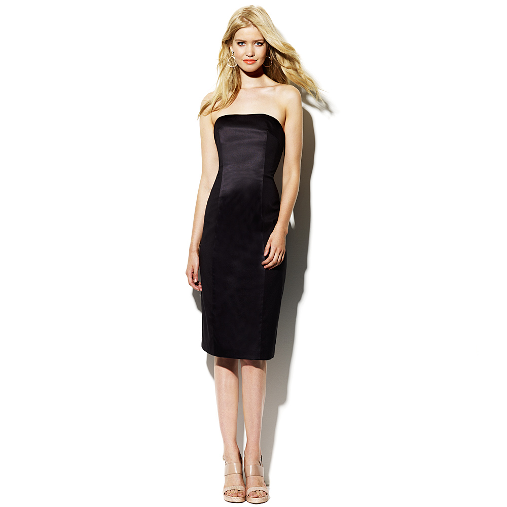 Vince camuto Strapless Black Dress in Black | Lyst