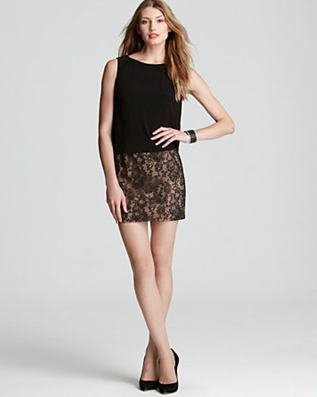 Adrianna Papell Day Dress Blouson Lace Skirt in Gold (black nude)