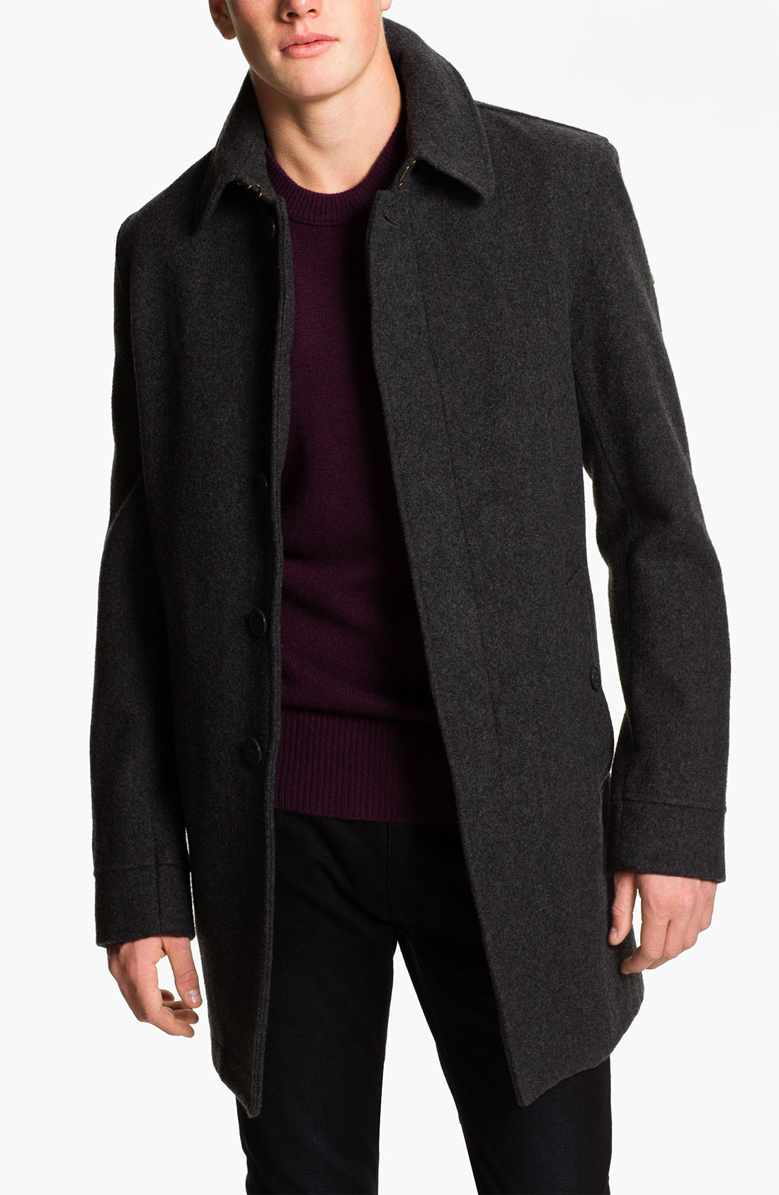 Burberry brit Burberry Wool Blend Car Coat in Gray for Men   Lyst