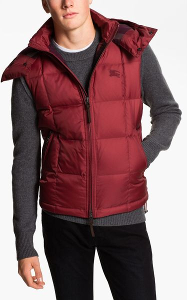 Burberry Brit Quilted Down Vest In Purple For Men Rosehip