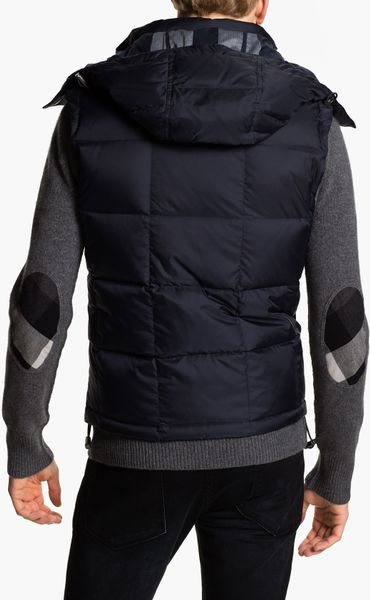 Burberry Brit Quilted Down Vest In Blue For Men True Navy