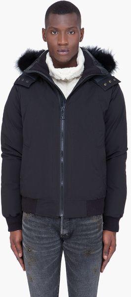 Cmfr Black Mink Fur Hood Oxton Bomber Jacket in Black for Men
