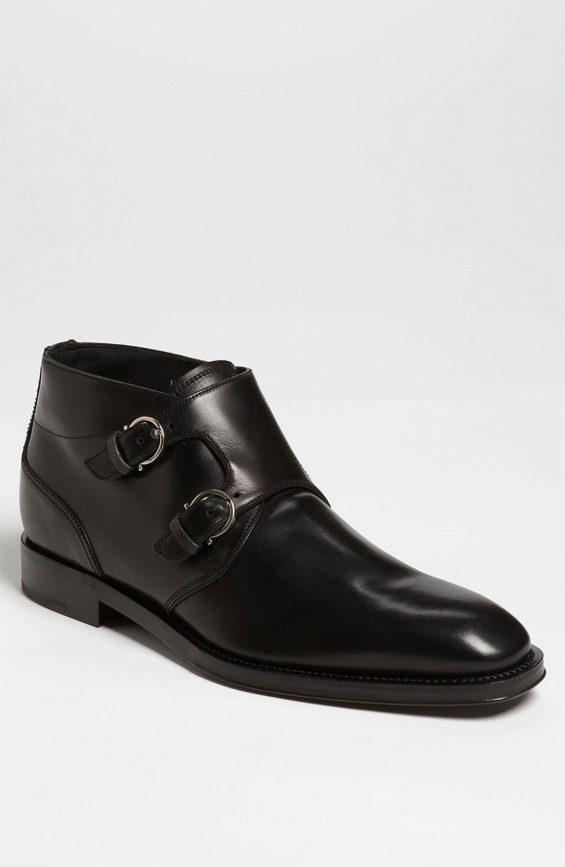 Ferragamo Arezzo Double Monk Strap Boot In Black For Men