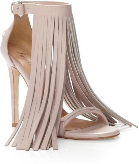 Marios Schwab Ss Blush Fringe Sandal in Pink (blush)