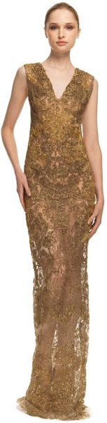 Vera Wang Ss Embroidered Lace Gown in Gold