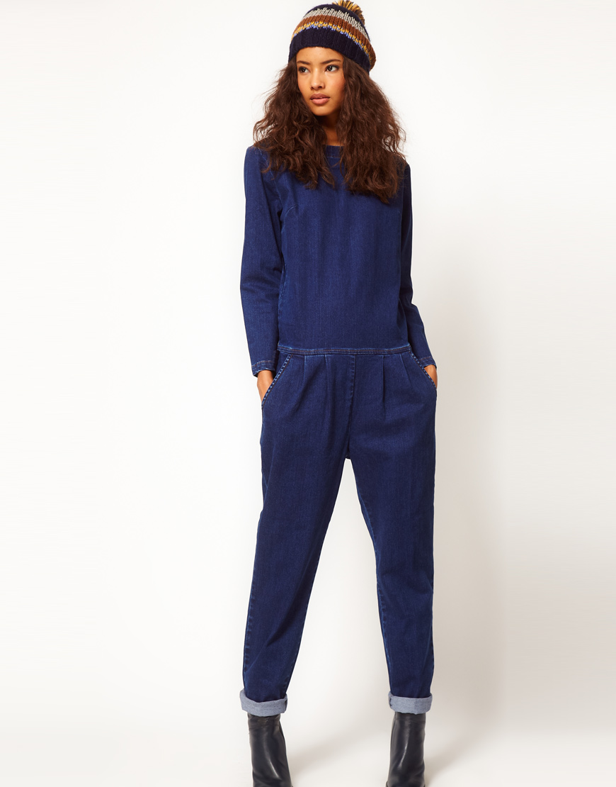 Lyst Asos Collection Asos Premium Denim Boilersuit In Clean Indigo