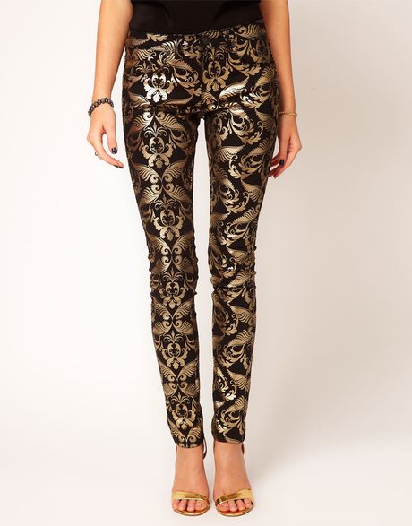 Asos Skinny Jeans in Metallic Baroque Print in Multicolor (multi)