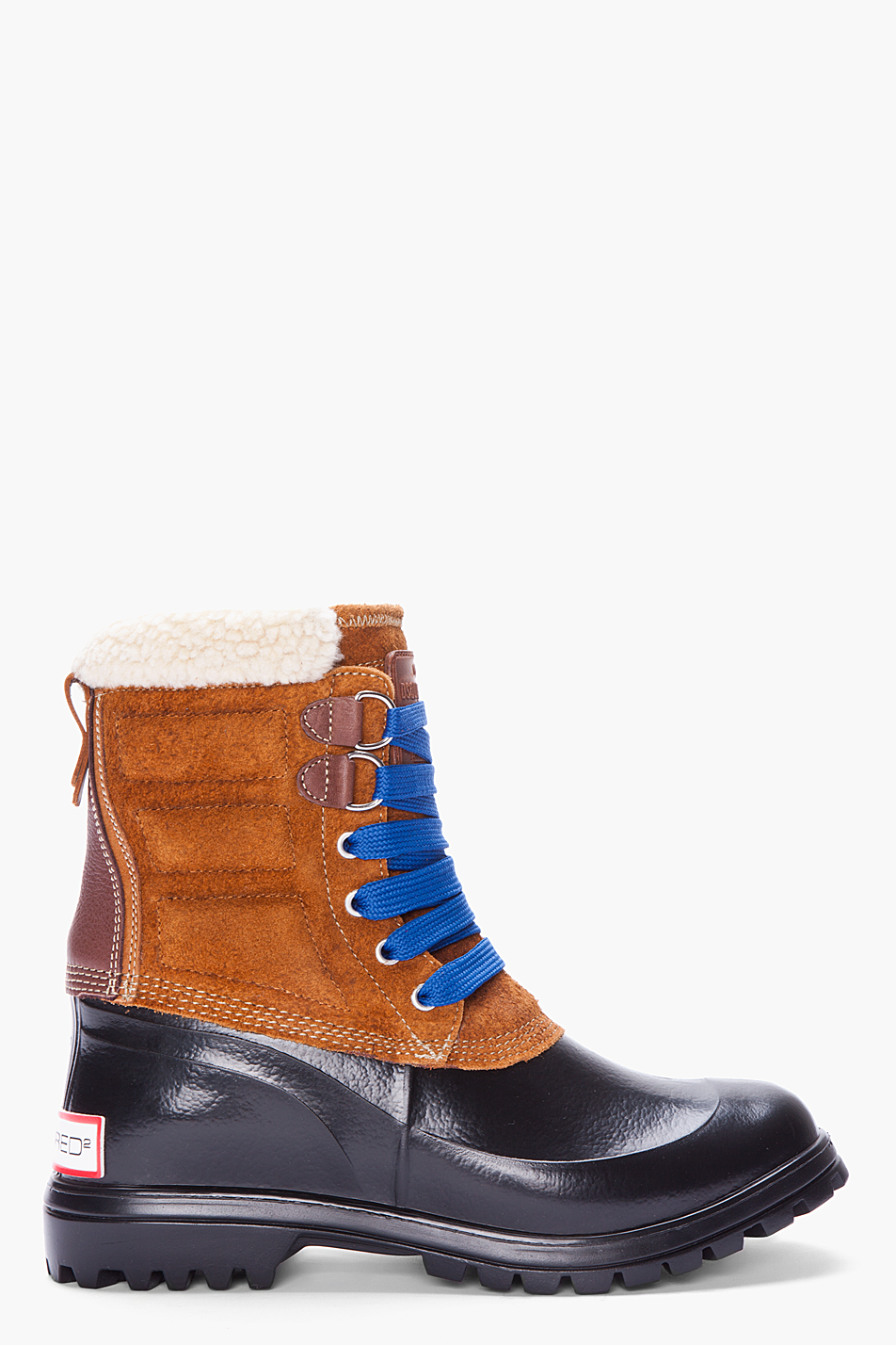 dsquared 178 rubber leather trim boots in brown for