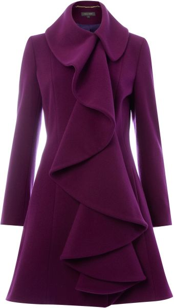 Pied A Terre Ruffle Front Coat in Purple