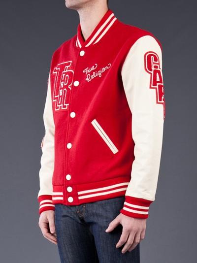 True Religion Letterman Varsity Jacket In Red For Men Lyst