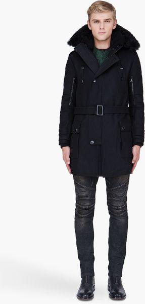 Balmain Black Hooded Long Wool Parka in Black for Men