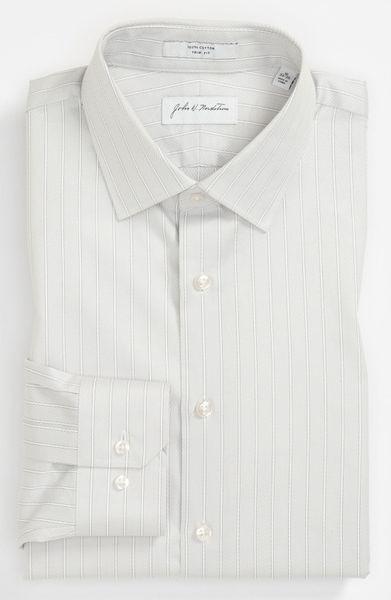 John W. Nordstrom® Trim Fit Dress Shirt in White for Men (ivory twill ...