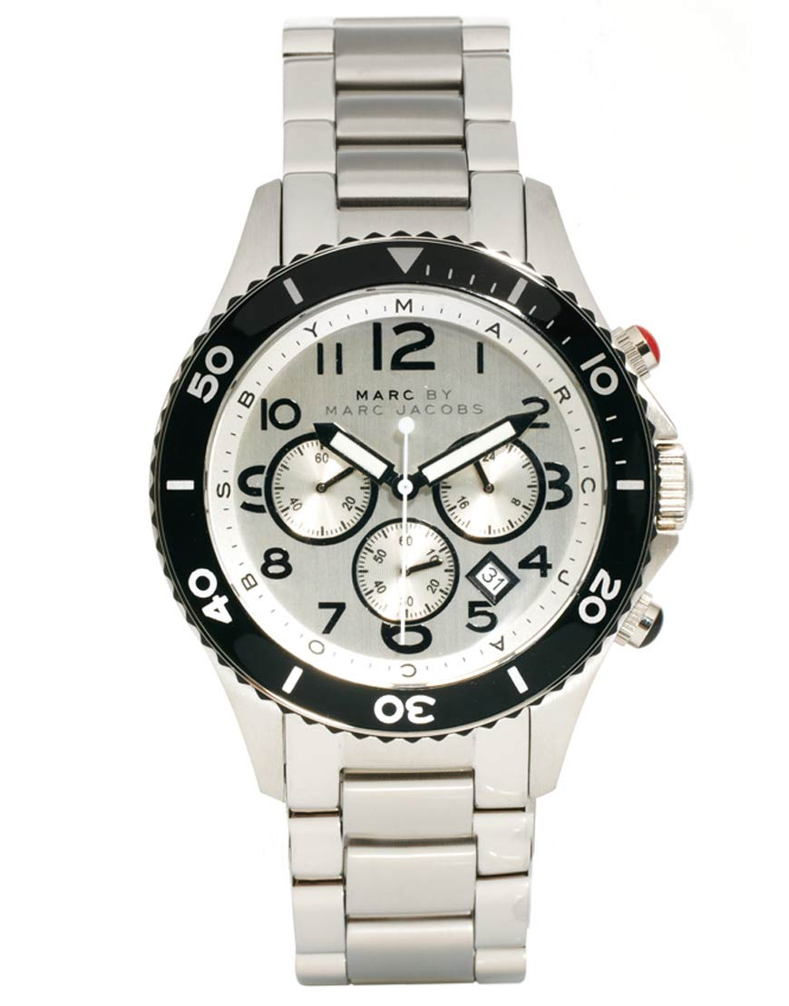 marc by marc jacobs round chronograph bracelet watch in metallic gallery