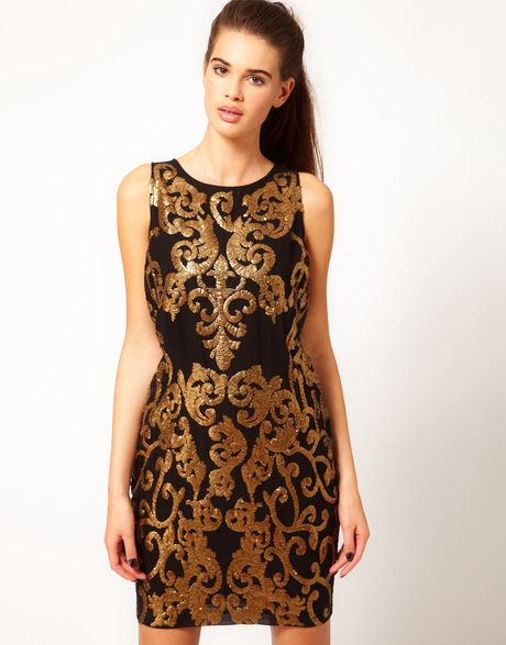 River Island Gold Sequin Shift Dress in Brown (goldblack)