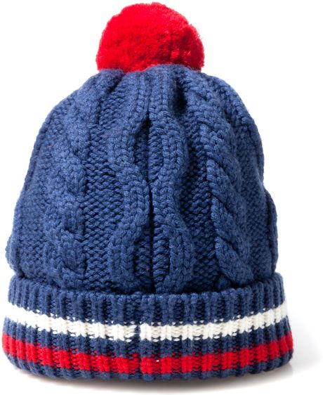 Scp Cable Knit Dobby Hat with Pom in Blue for Men Lyst