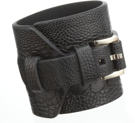 Givenchy Ostrich Cuff in Gray (gold)