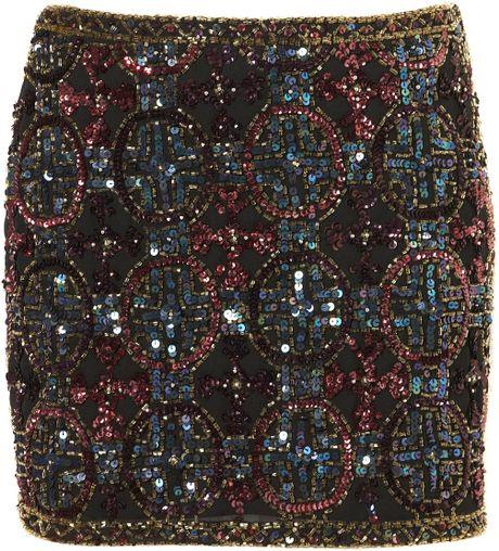 Topshop Premium Embellished Skirt in Multicolor (multi)