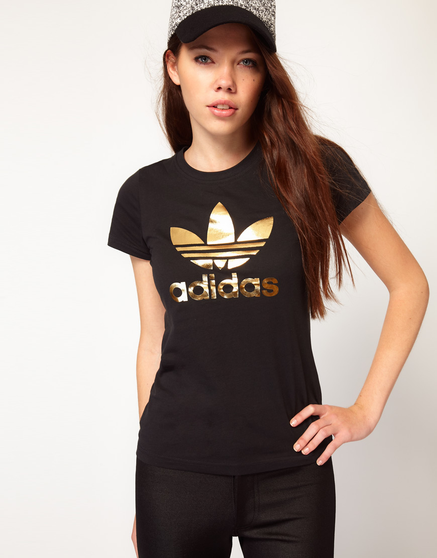 Lyst adidas trefoil t shirt in brown for Adidas trefoil t shirt