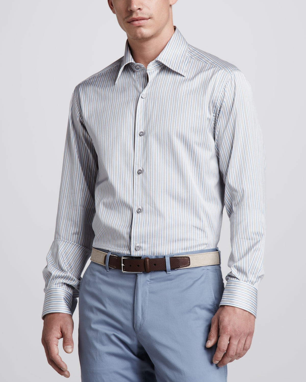 ermenegildo zegna striped sport shirt steel bluetaupe in gray for men lyst. Black Bedroom Furniture Sets. Home Design Ideas