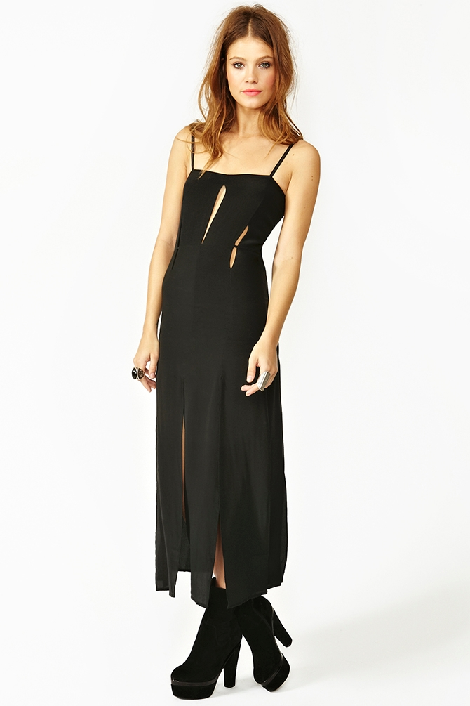 Nasty gal Split Silk Maxi Dress in Black | Lyst