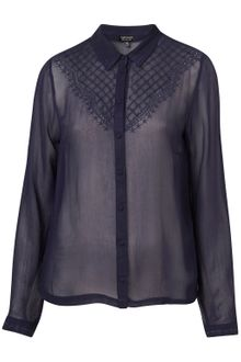 Topshop Western Yoke Long Sleeve Shirt - Lyst
