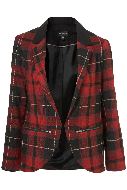 Lyst Topshop Tartan Zip Blazer In Red