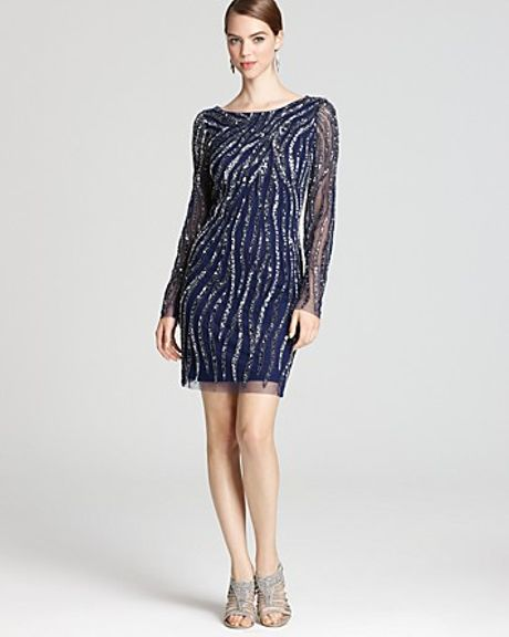 AIDAN MATTOX $360 Navy Beaded Long Sleeve Dress Sz 8 NEW | eBay