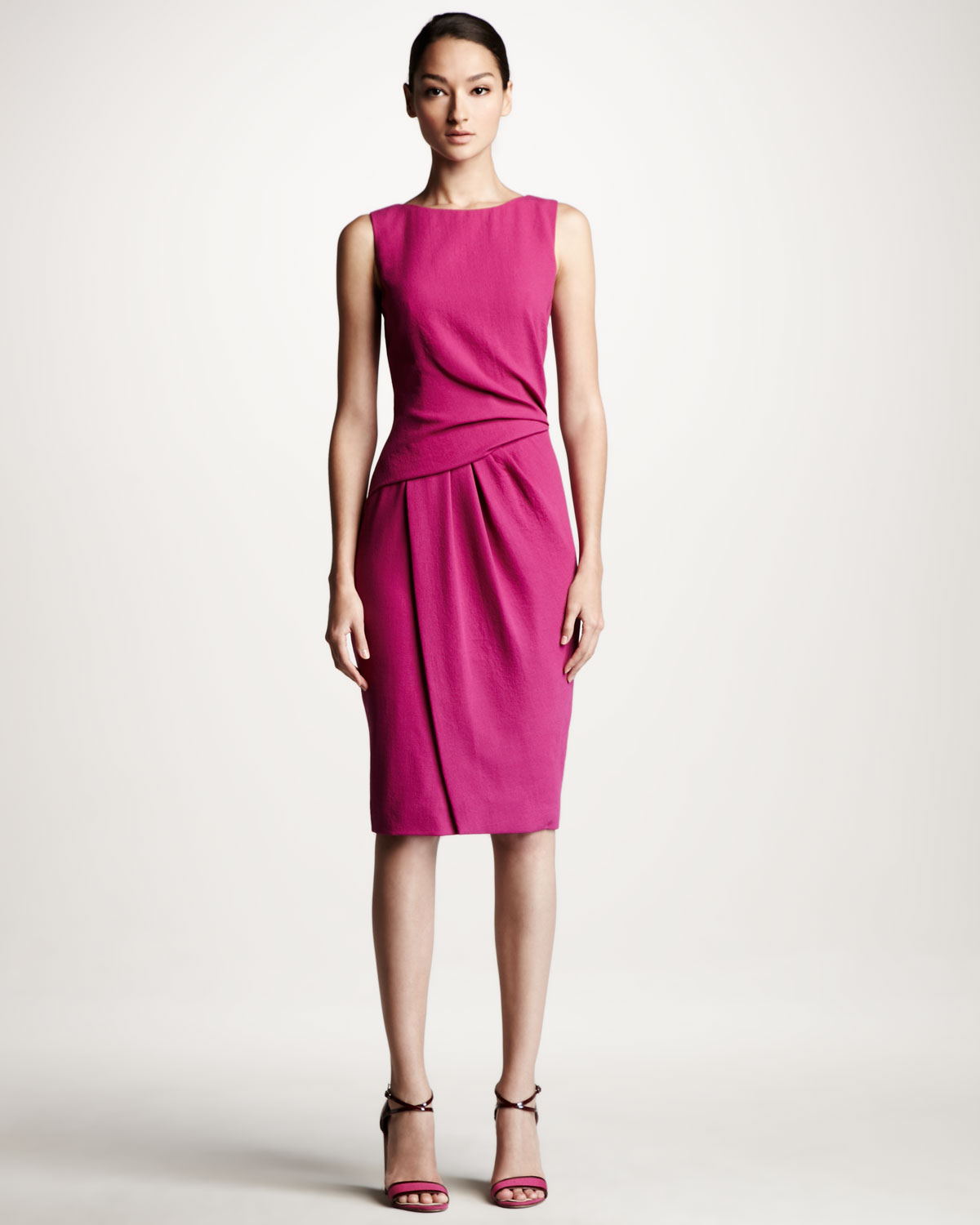 Lyst - Carolina herrera Draped Crepe Dress in Pink
