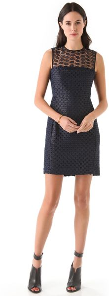 Diane Von Furstenberg Kinchu Lace Dress in Blue (navy)