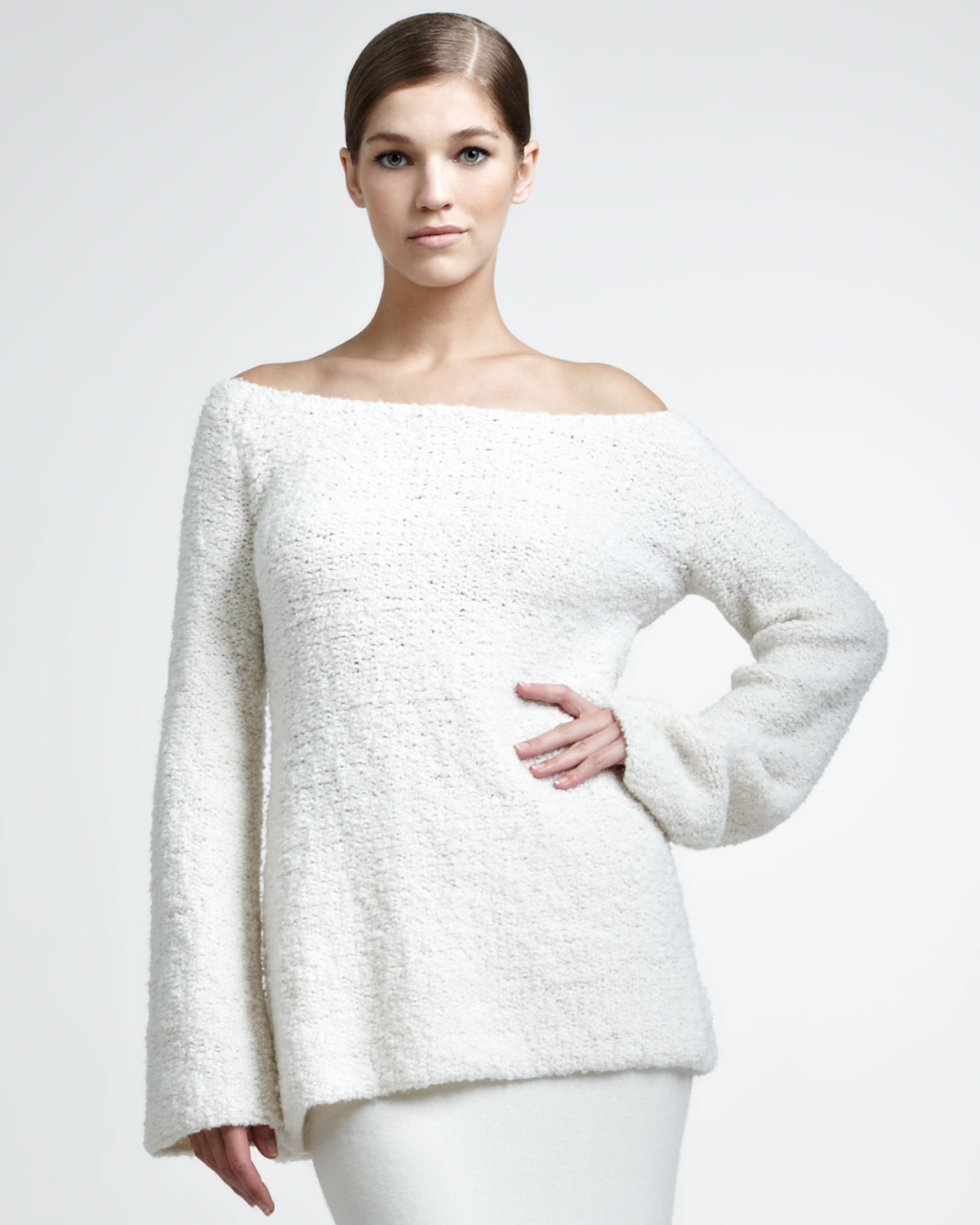 donna karan wool cashmere boucle pullover in white lyst. Black Bedroom Furniture Sets. Home Design Ideas
