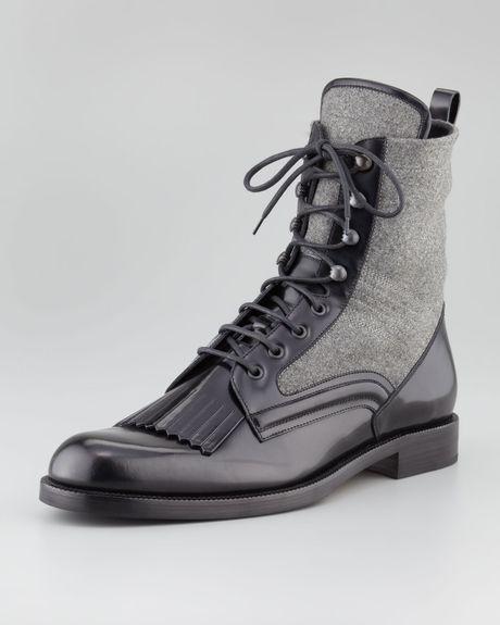 jimmy choo chesham leather flannel roper boot in black for