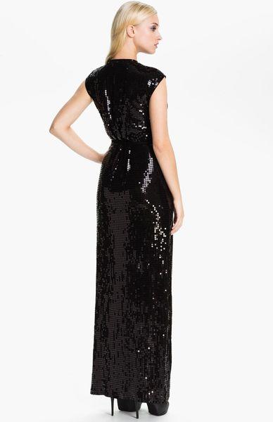 Michael Michael Kors Sequin Wrap Dress In Black Lyst