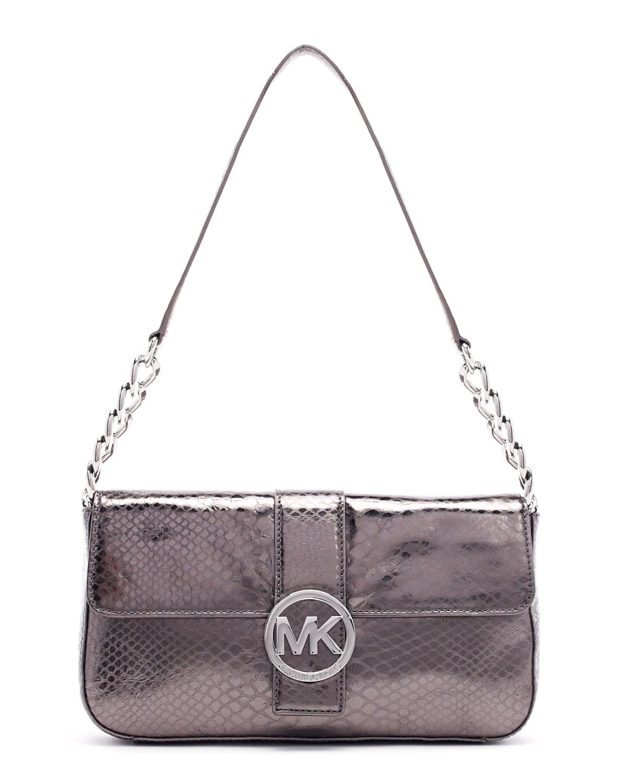 ab9cefd0a5c7 sale michael kors new black snakeskin emboss leather fulton shoulder purse  d37a4 7b726; closeout gallery. womens michael by michael kors fulton 1ca5a  5d442