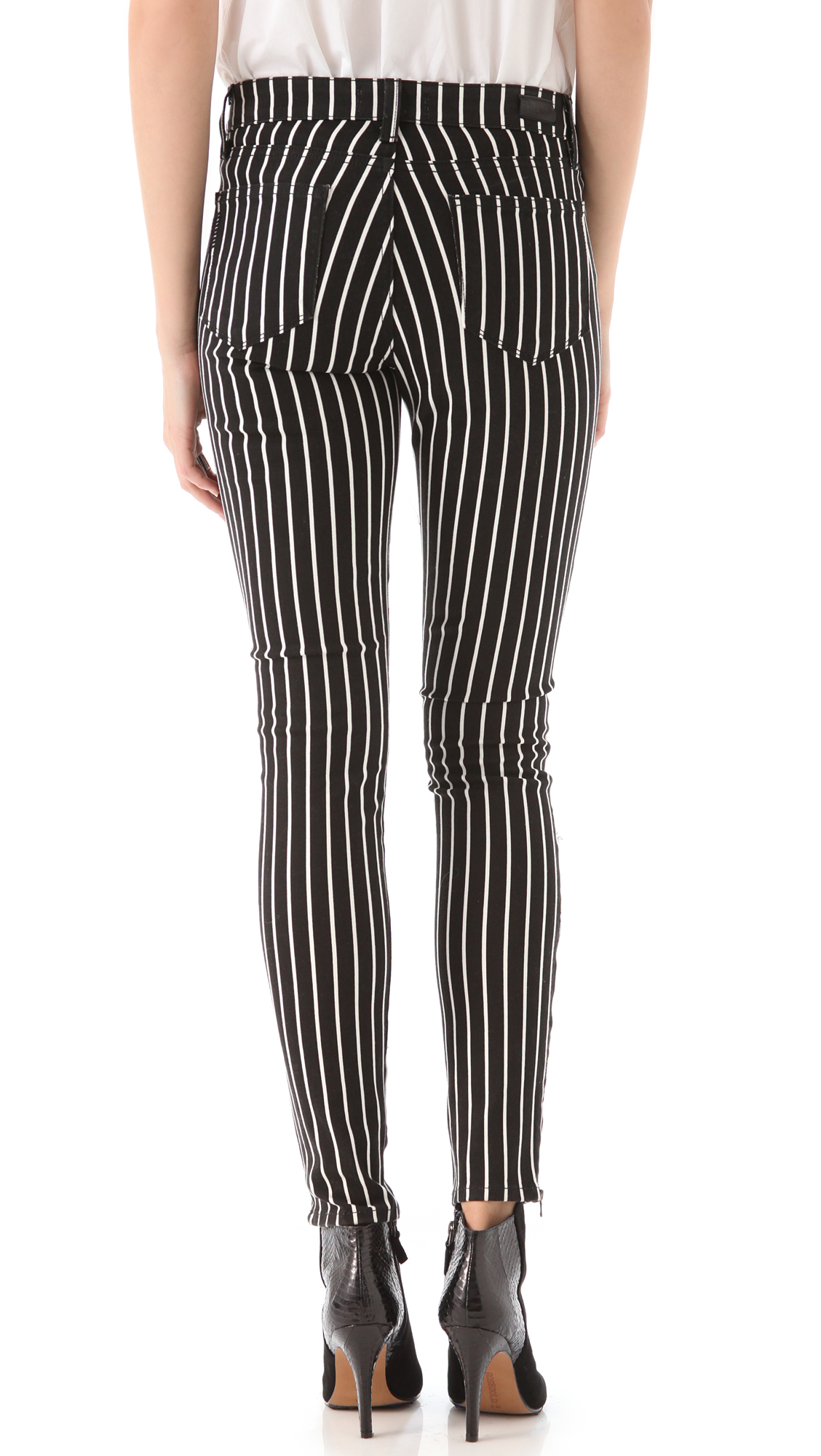 Paige Hoxton Striped Skinny Jeans in Black | Lyst