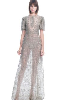 Valentino Organza Short Sleeve Embroidered Gown - Lyst