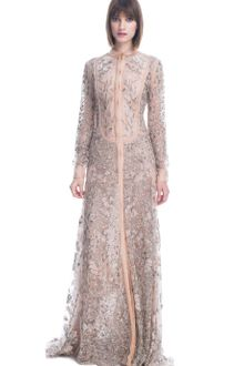 Valentino Tulle Illusione Long Sleeve Embroidered Gown - Lyst