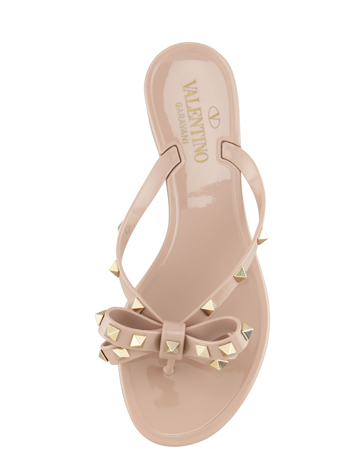 a98c8696c6b0 Lyst - Valentino Rockstud Pvc Thong Sandal Poudr in Natural
