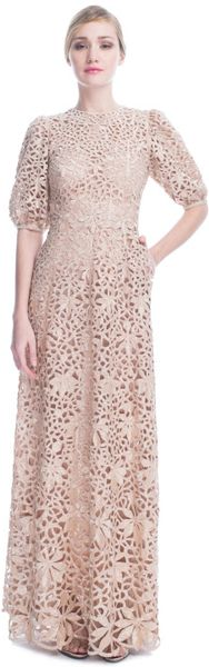 Valentino Tulle Illusione Short Sleeve Embroidered Gown in Beige (poudre) - Lyst