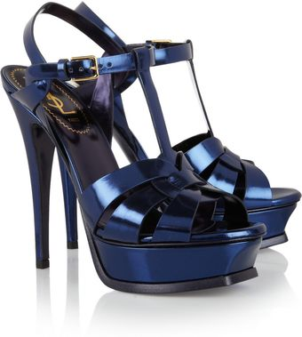 Yves Saint Laurent Tribute Mirrored Leather Sandals - Lyst