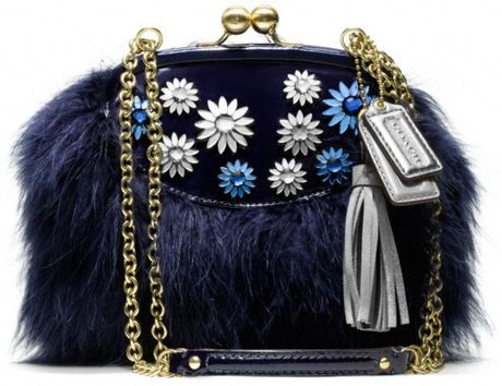Coach Poppy Jewel Frame Bag in Blue (brassblue)