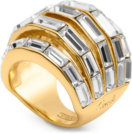 coach baguette pierced domed ring in gold gold clear lyst