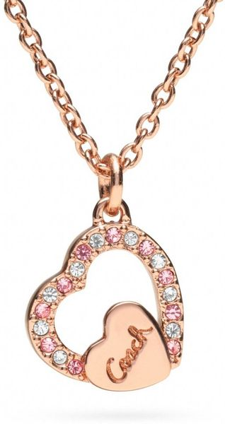 Coach Pave Coach Script Heart Necklace In Pink Rosegold