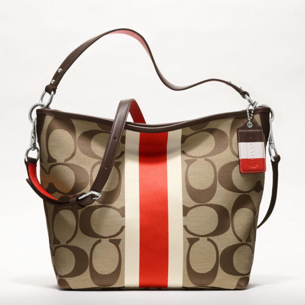 5855cffabb9c ... france lyst coach hamptons weekend signature stripe shoulder bag in  orange 48d6f 860bd
