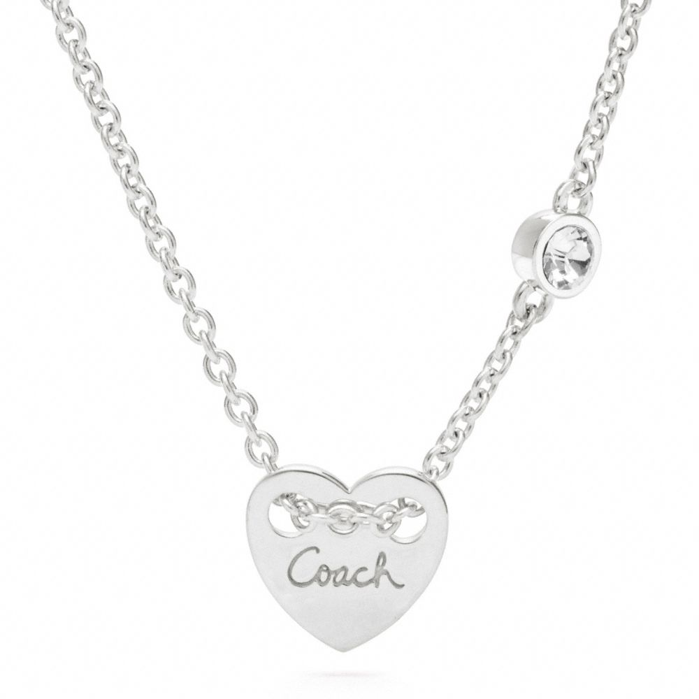 Lyst Coach Sterling Heart Charm Necklace In Metallic