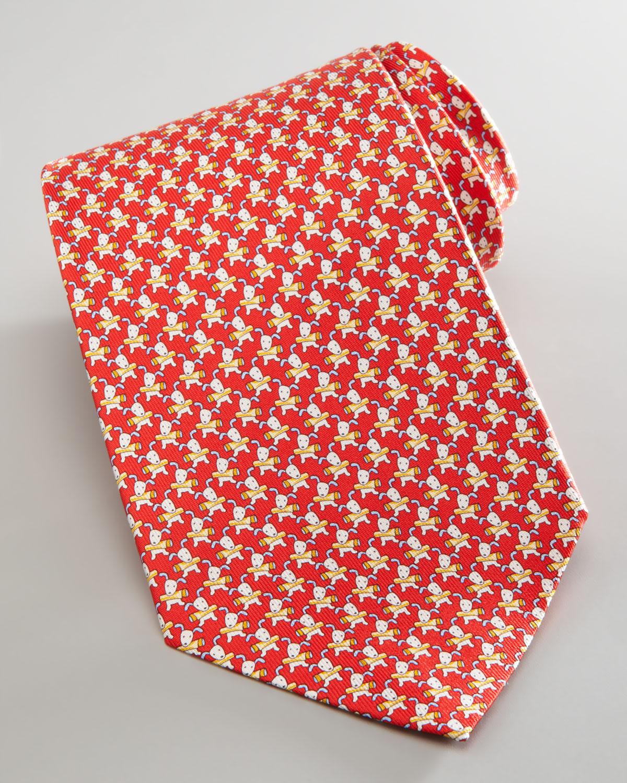 Ferragamo Dog-Print Silk Tie in Red for Men   Lyst