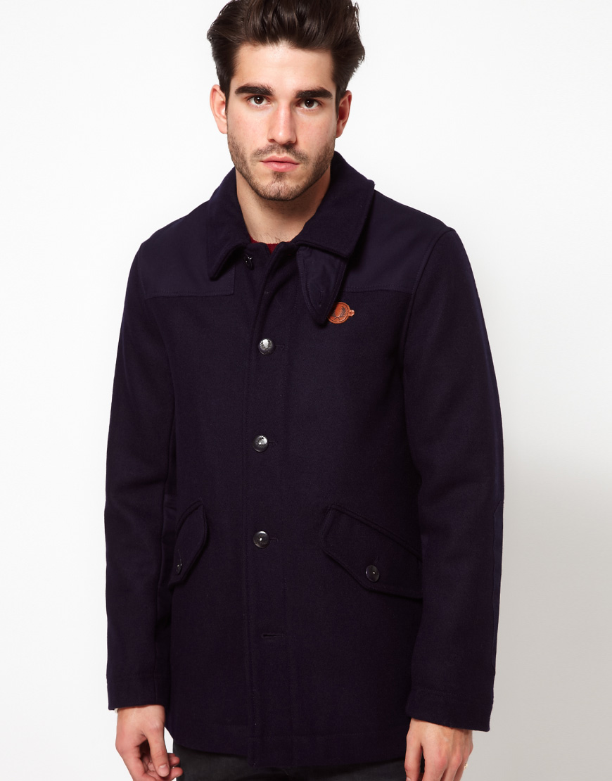 fred perry jacket workers donkey in blue for men lyst. Black Bedroom Furniture Sets. Home Design Ideas